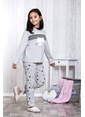 Lingabooms Taçlı 2'li Çocuk Pijama Takım  Gri